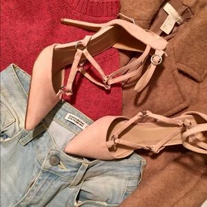 Topshop MARA Ring Strap Court Shoes, nude, US 8.5